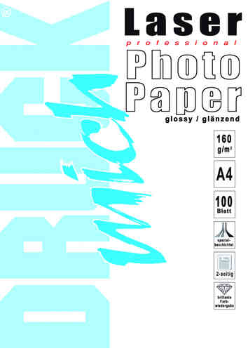 Laser-Fotopapier, A4, 160g, 100 Blatt