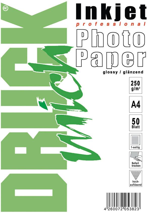 Photo-Glossy-Papier, glänzend, 250g, A4, 50 Blatt