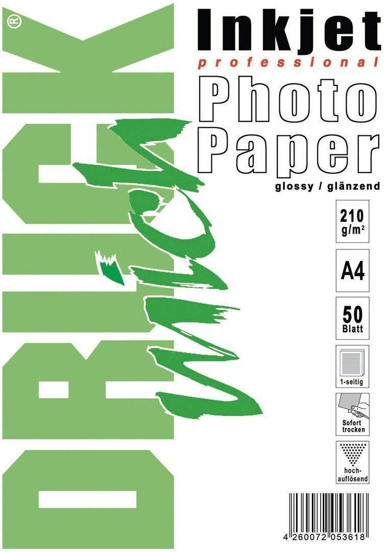 Photo-Glossy-Papier, glänzend, 2100g, A4, 50 Blatt